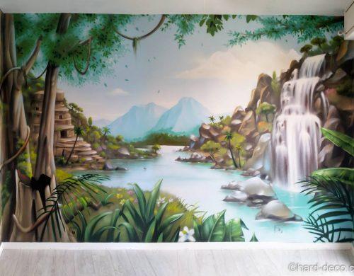 Fresque jungle & cascade
