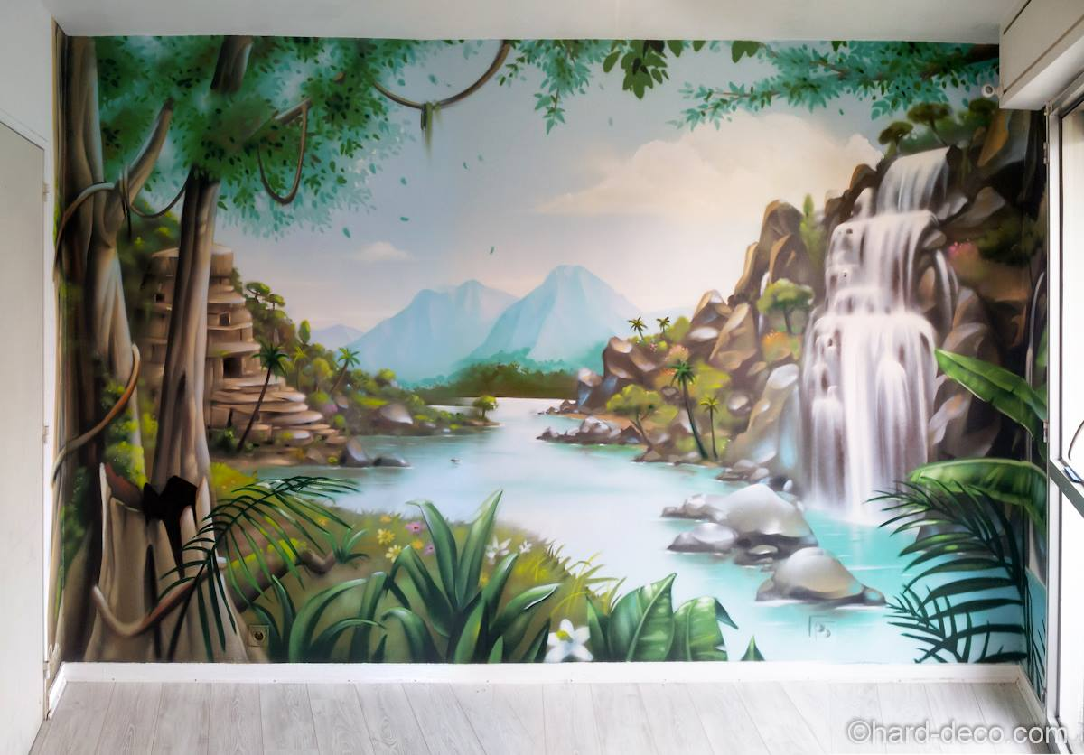 Fresque de cascades dans la jungle pour une chambre d 39 enfant for Decoration murale jungle