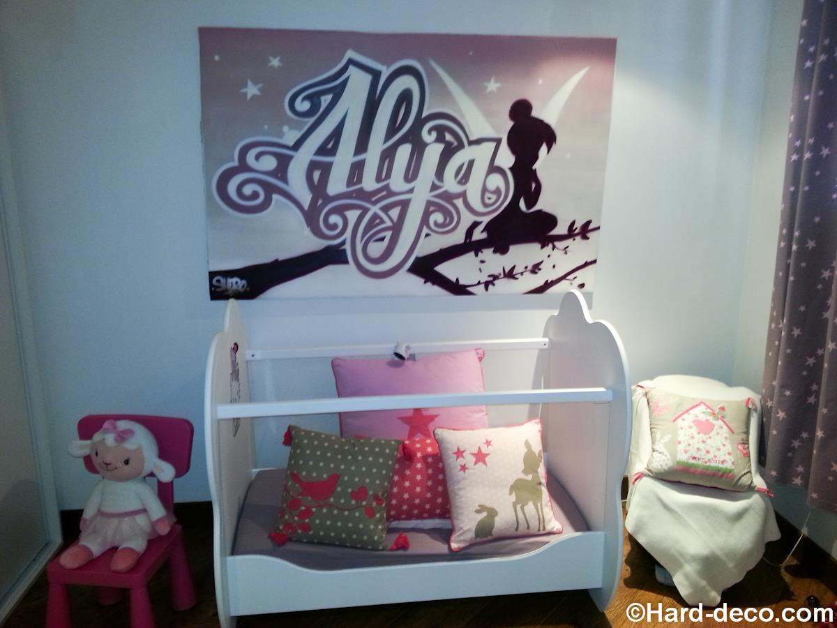 pr nom sur toile pour une chambre de b b alya et f e clochette. Black Bedroom Furniture Sets. Home Design Ideas