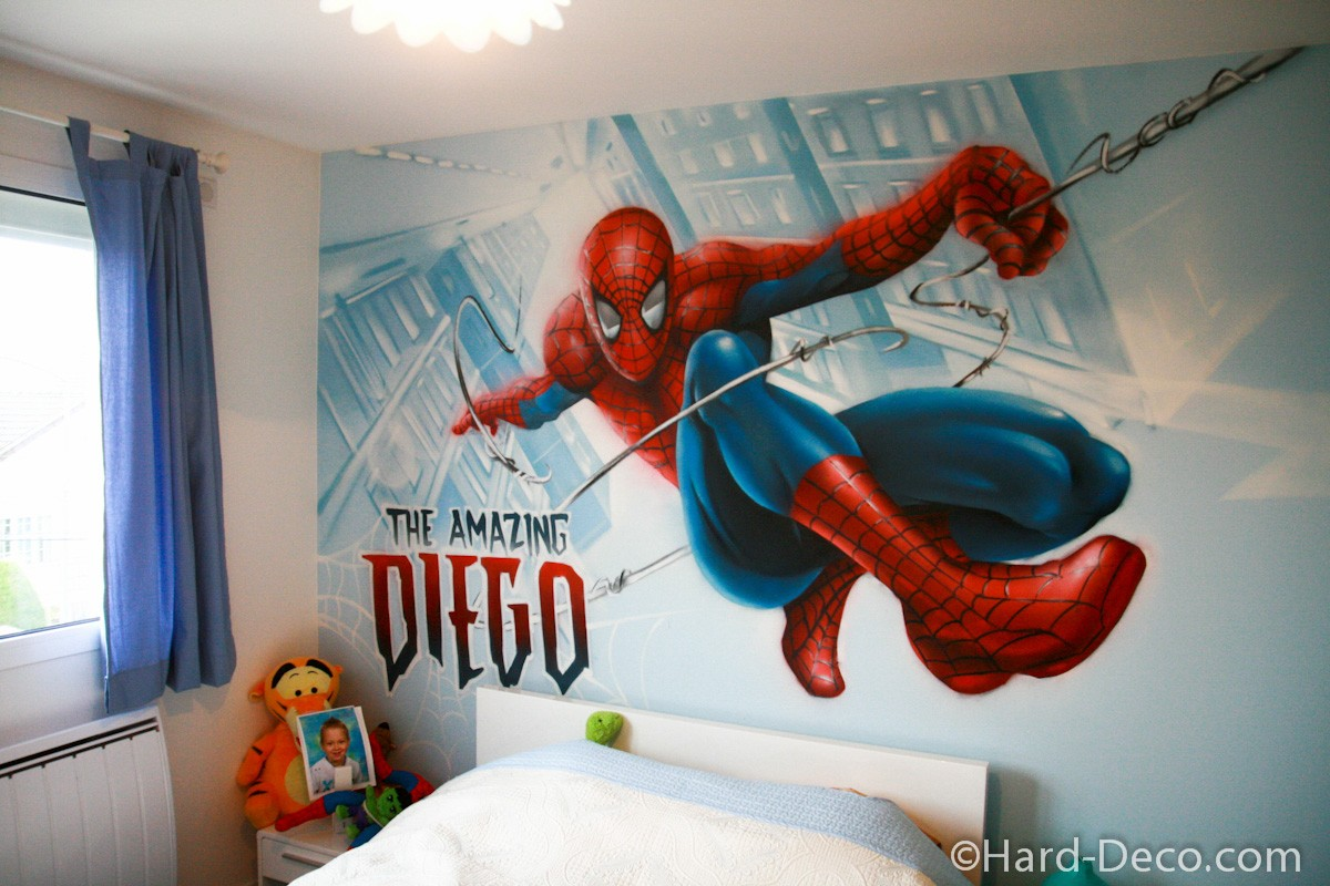 Chambre spiderman en action hard deco for Decoration chambre spiderman