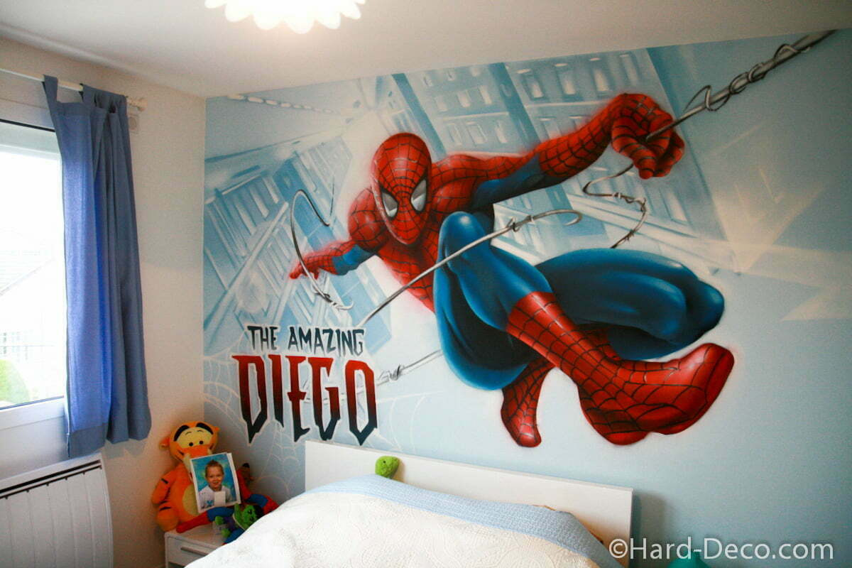 Chambre Spiderman en action  Hard Deco