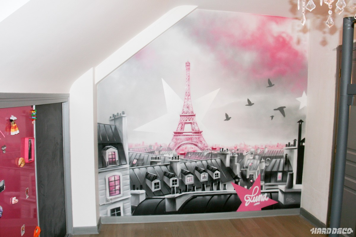 fresque d corative sur le theme des toits de paris. Black Bedroom Furniture Sets. Home Design Ideas