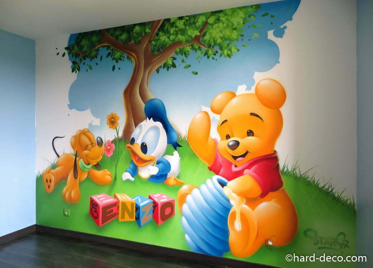 D co chambre d 39 enfant avec b b s disney et pr nom enzo for Deco ourson chambre bebe