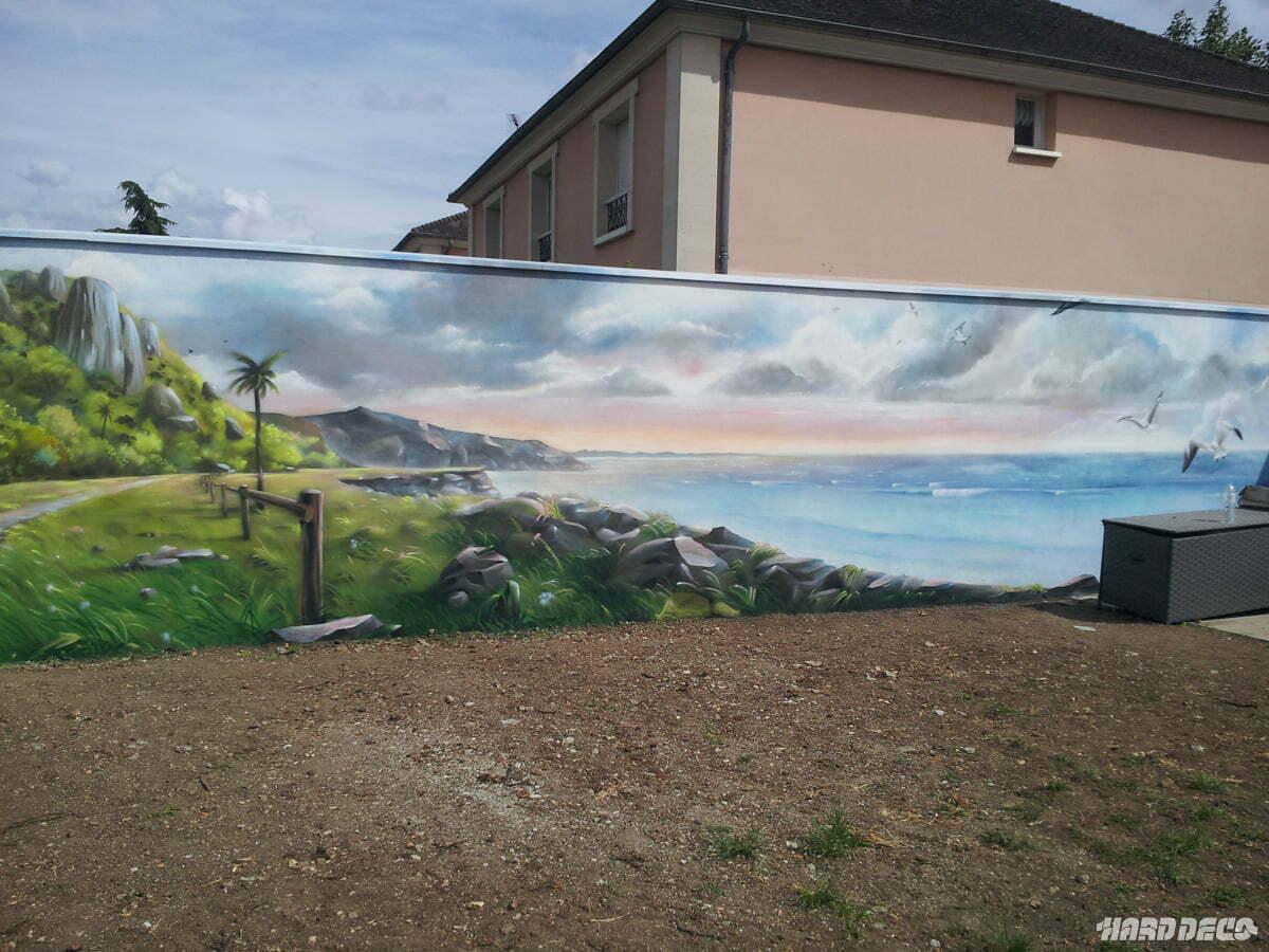 Paysage mur de jardin for Dessiner sur un mur peinture