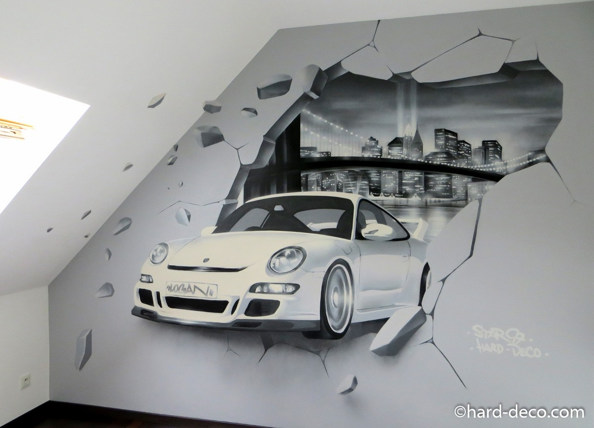 Fresque murale avec porsche mur cass et baie de new york for Deco murale new york