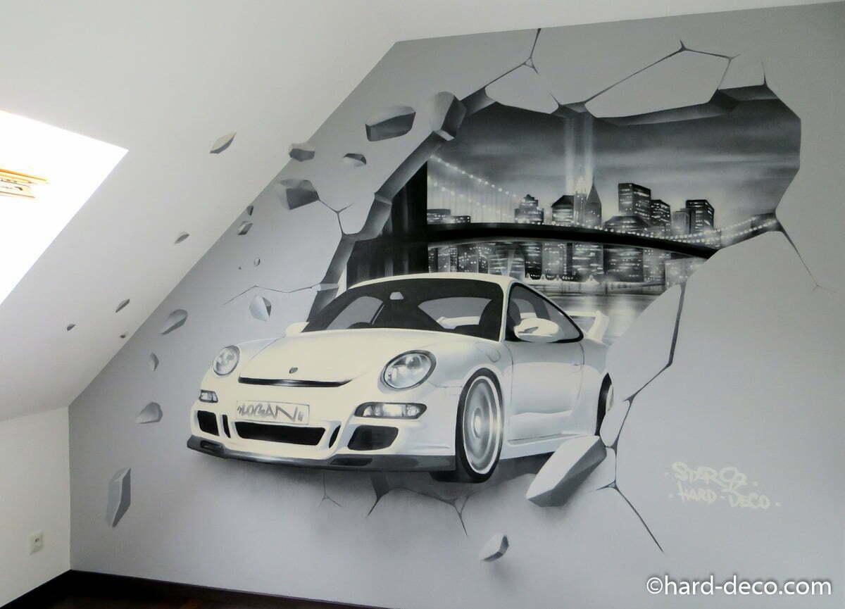 Fresque murale avec porsche mur cass et baie de new york - Deco chambre enfant voiture ...