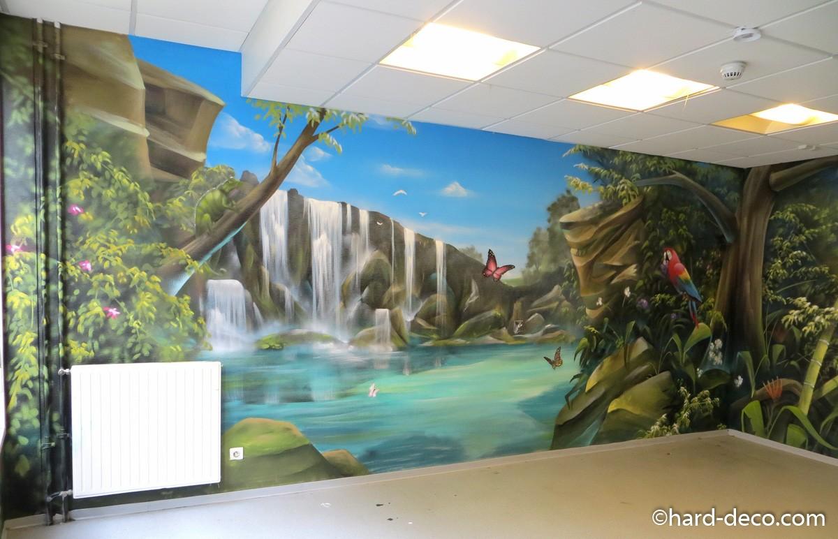 fresque murale sur le th me r union et plage tropicale. Black Bedroom Furniture Sets. Home Design Ideas