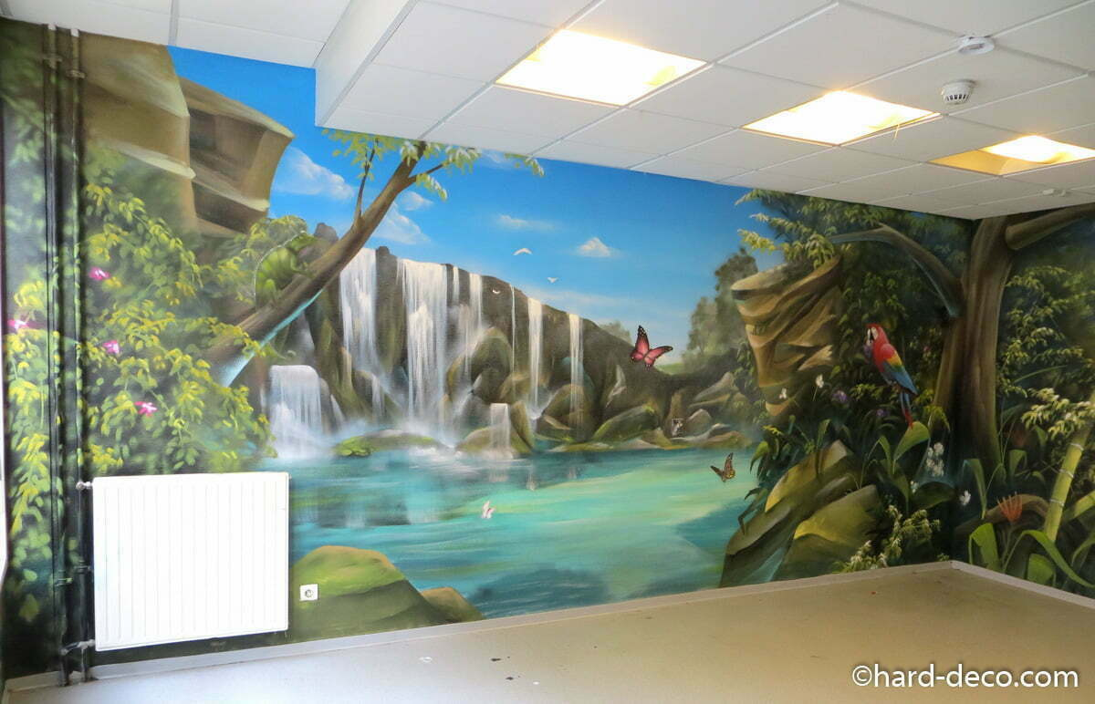 Fresque murale sur le th me r union et plage tropicale for Cascade murale interieur