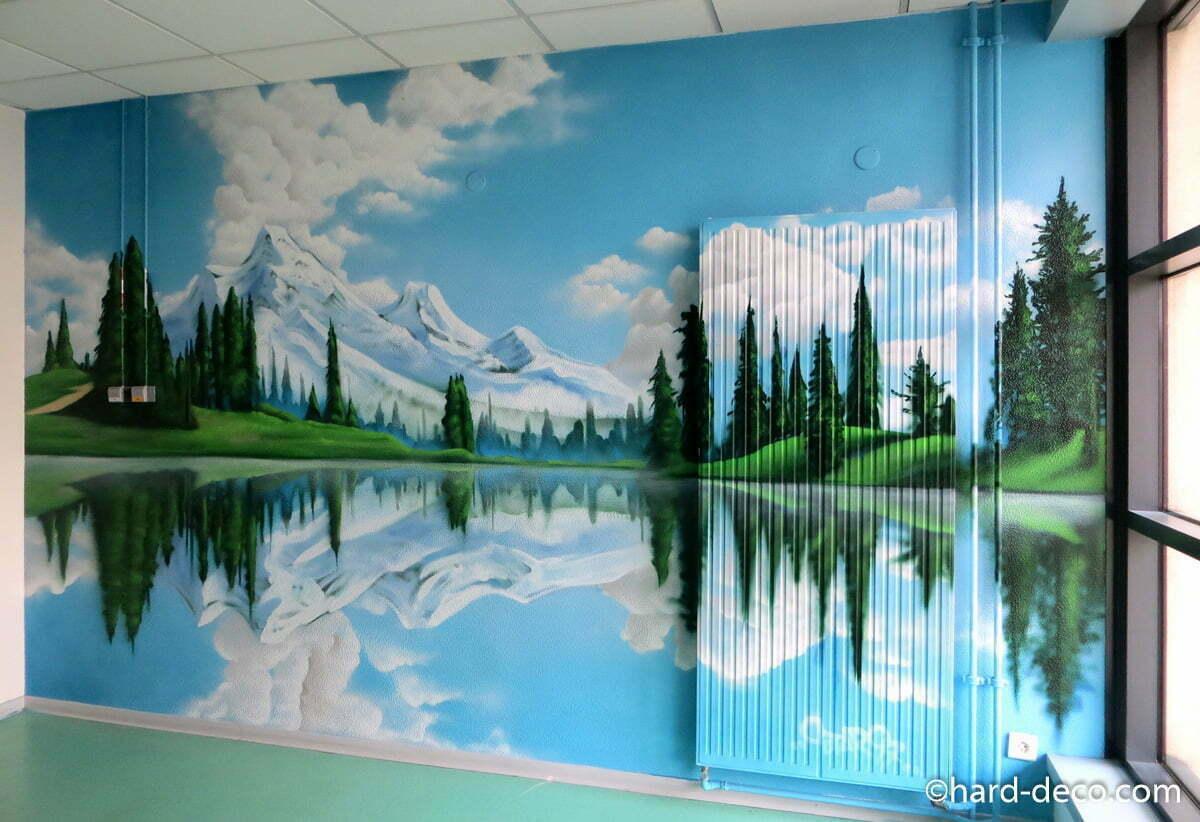Fresques murales trompe l il de grands espaces for Paysage interieur exterieur