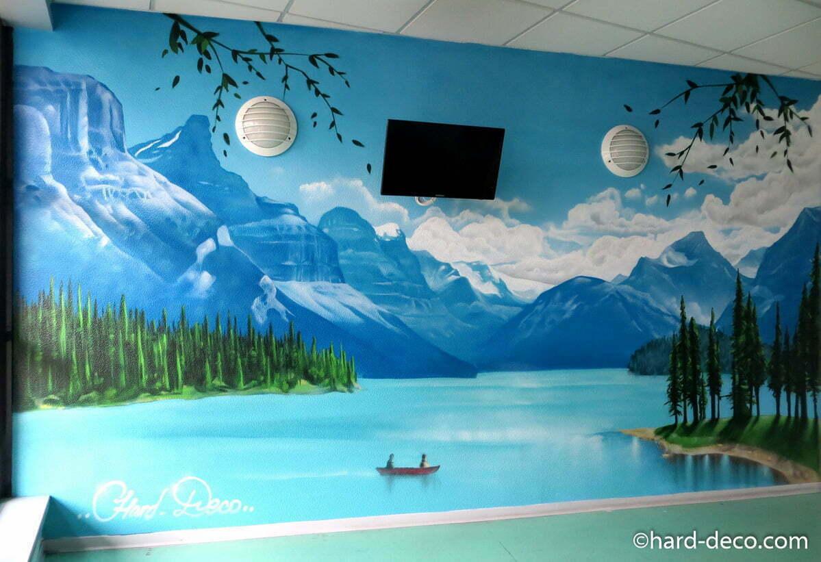 Fresque Murale Paysage Avec Piliers Et Balustrade En Trompe L Oeil Et ...