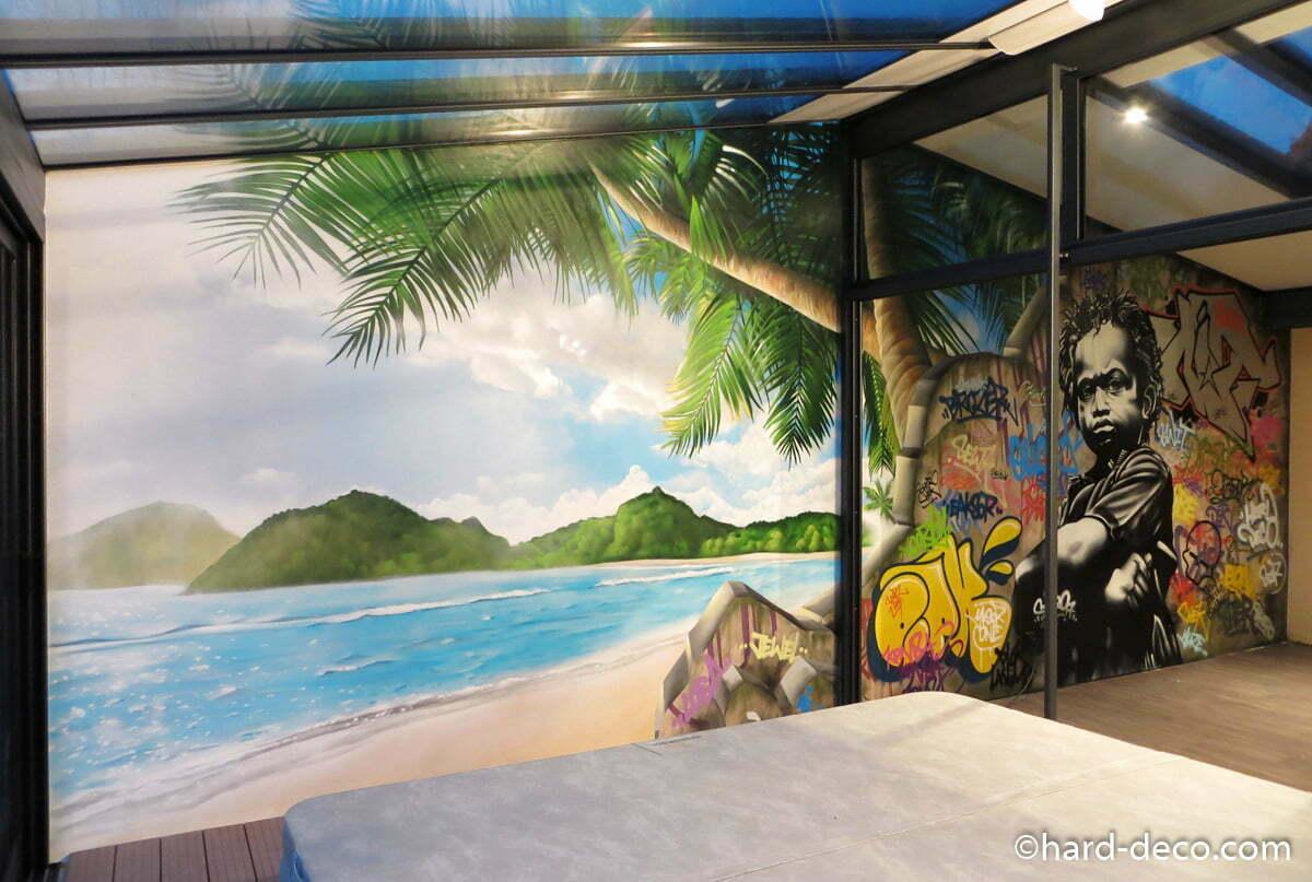 d coration murale sur le th me tropical et graffiti. Black Bedroom Furniture Sets. Home Design Ideas