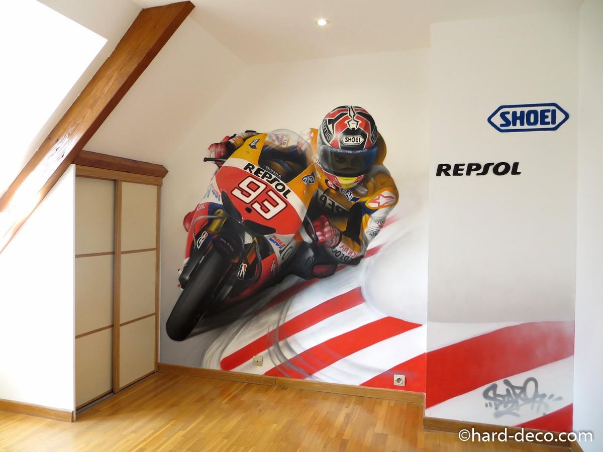 fresque murale sur le th me moto gp. Black Bedroom Furniture Sets. Home Design Ideas
