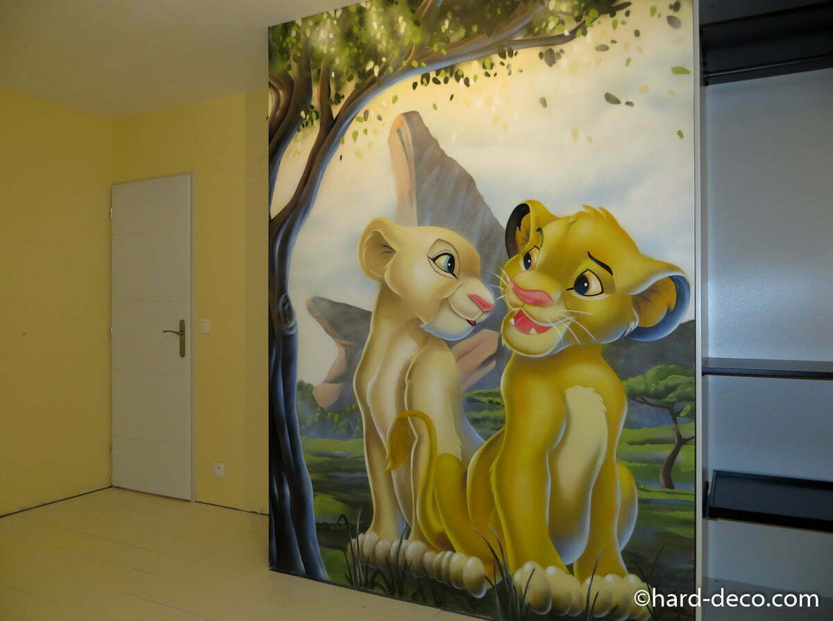 fresque murale r alis e sur le th me disney roi lion. Black Bedroom Furniture Sets. Home Design Ideas