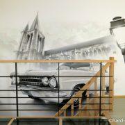 Eglise et Oldsmobile à Brie-Comte-Robert