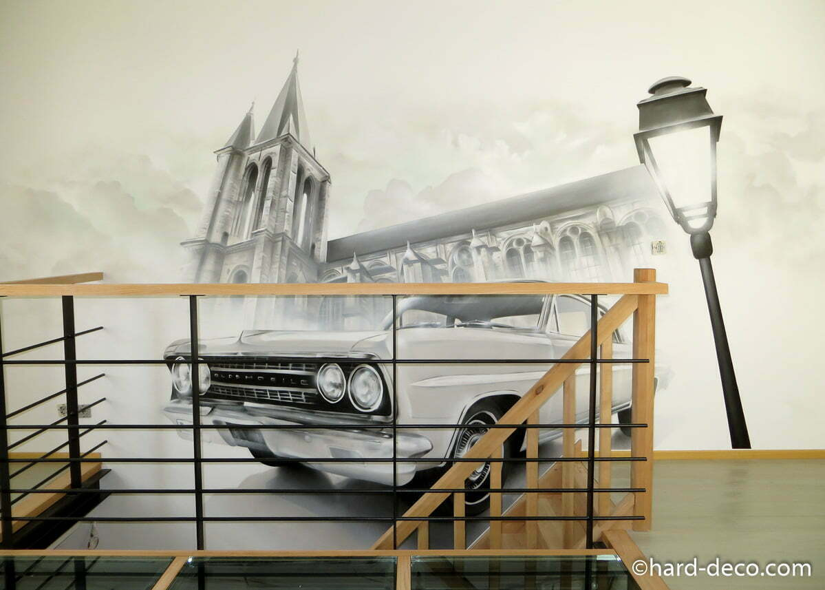 fresque murale mettant en sc ne une glise et une oldsmobile. Black Bedroom Furniture Sets. Home Design Ideas