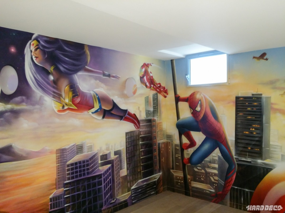 Marvel avengers hard deco for Objet deco chambre adulte