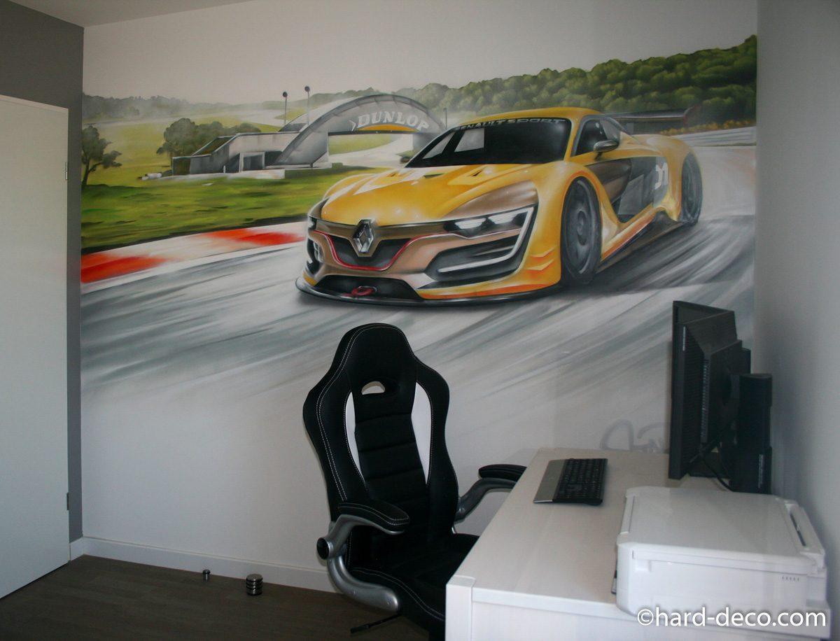 fresque murale graffiti avec circuit et m gane rs 01. Black Bedroom Furniture Sets. Home Design Ideas