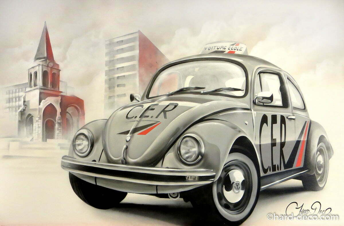 fresque volkswagen coccinelle glise colombes auto cole. Black Bedroom Furniture Sets. Home Design Ideas