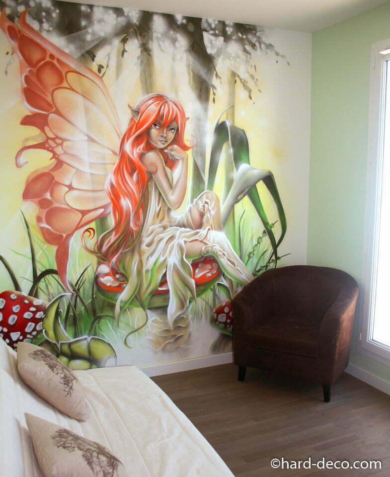 fresque murale graffiti avec f e et d cor f erique. Black Bedroom Furniture Sets. Home Design Ideas