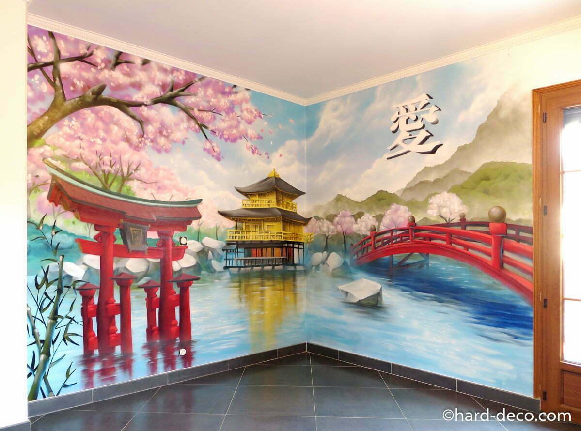Fresque Asiatique Geisha Pagode Torii Cerisiers Mont Fuji