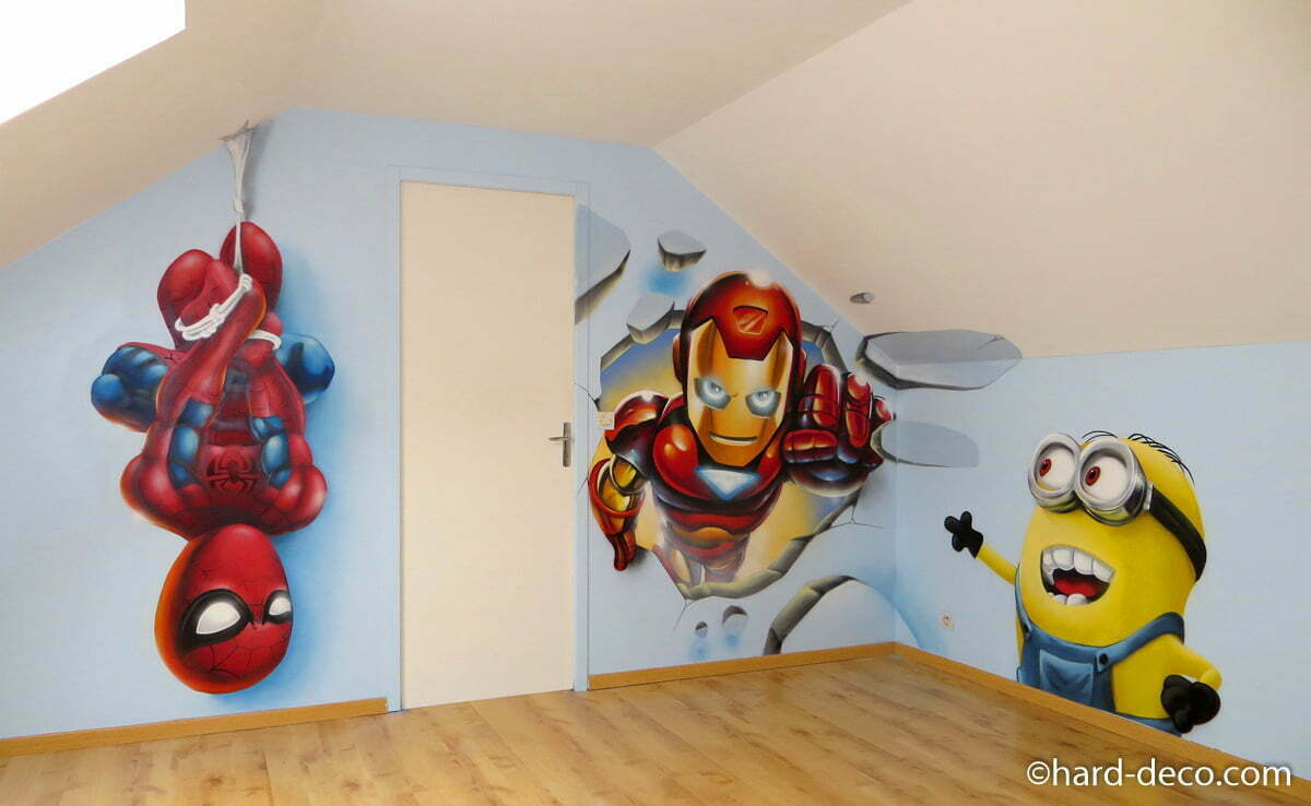 fresque salle de jeux enfants marvels et minion. Black Bedroom Furniture Sets. Home Design Ideas