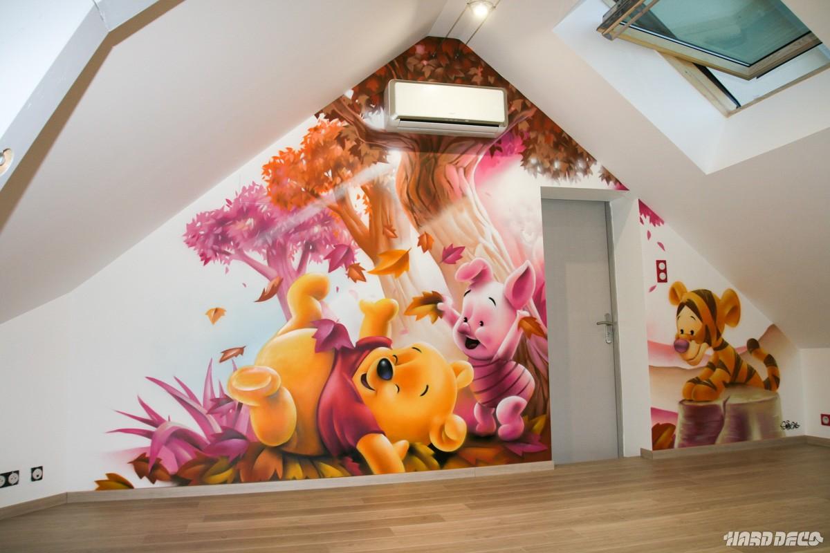 Fresque chambre d 39 enfants winnie tigrou porcinet for Decoration de chambre winnie l ourson