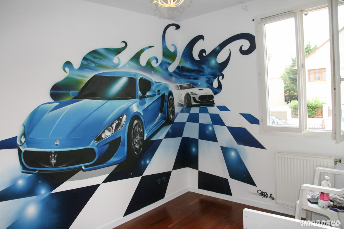fresque maserati granturismo chambre d 39 enfant. Black Bedroom Furniture Sets. Home Design Ideas