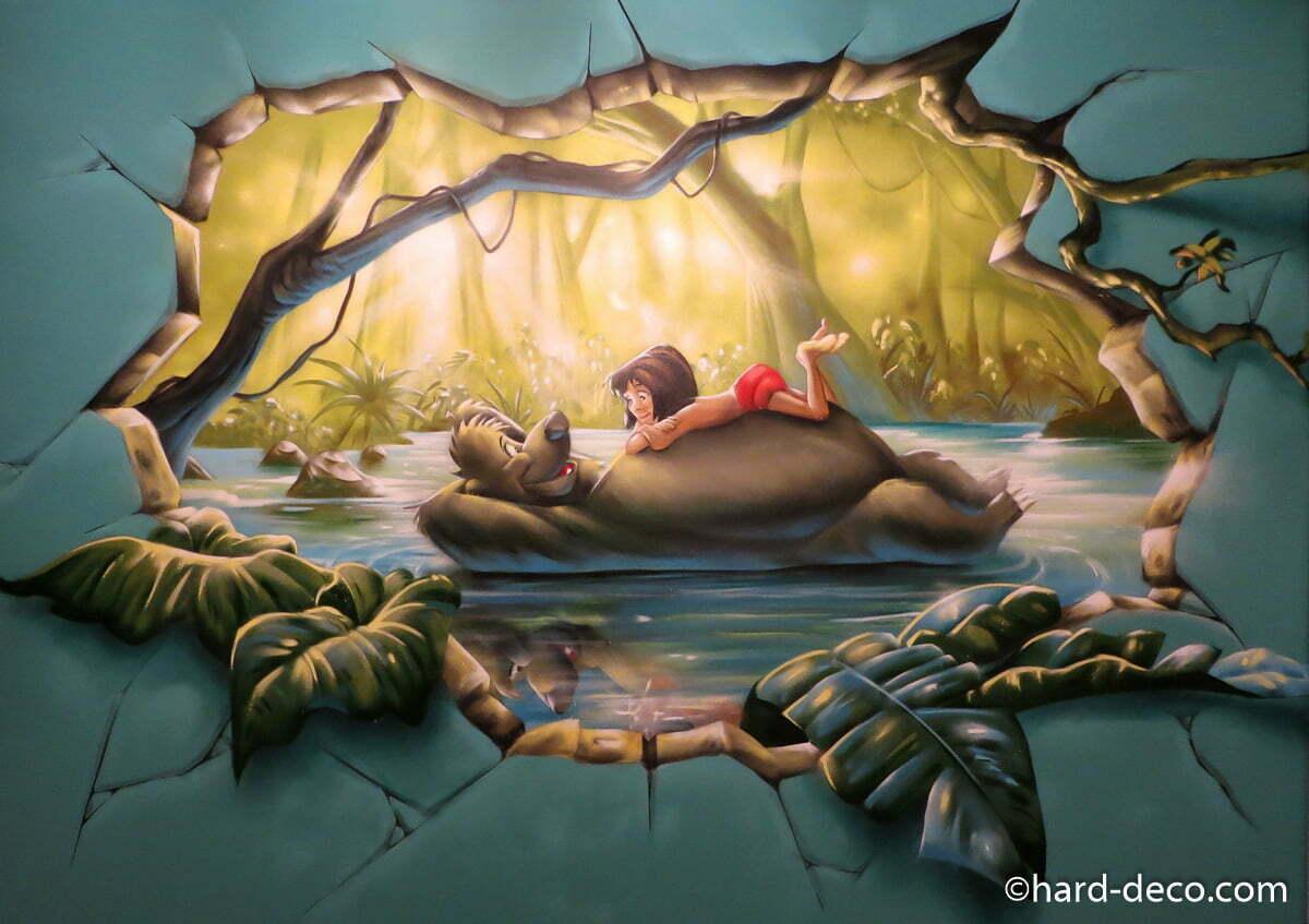 Fresque Murale Graffiti Sur Le Livre De La Jungle