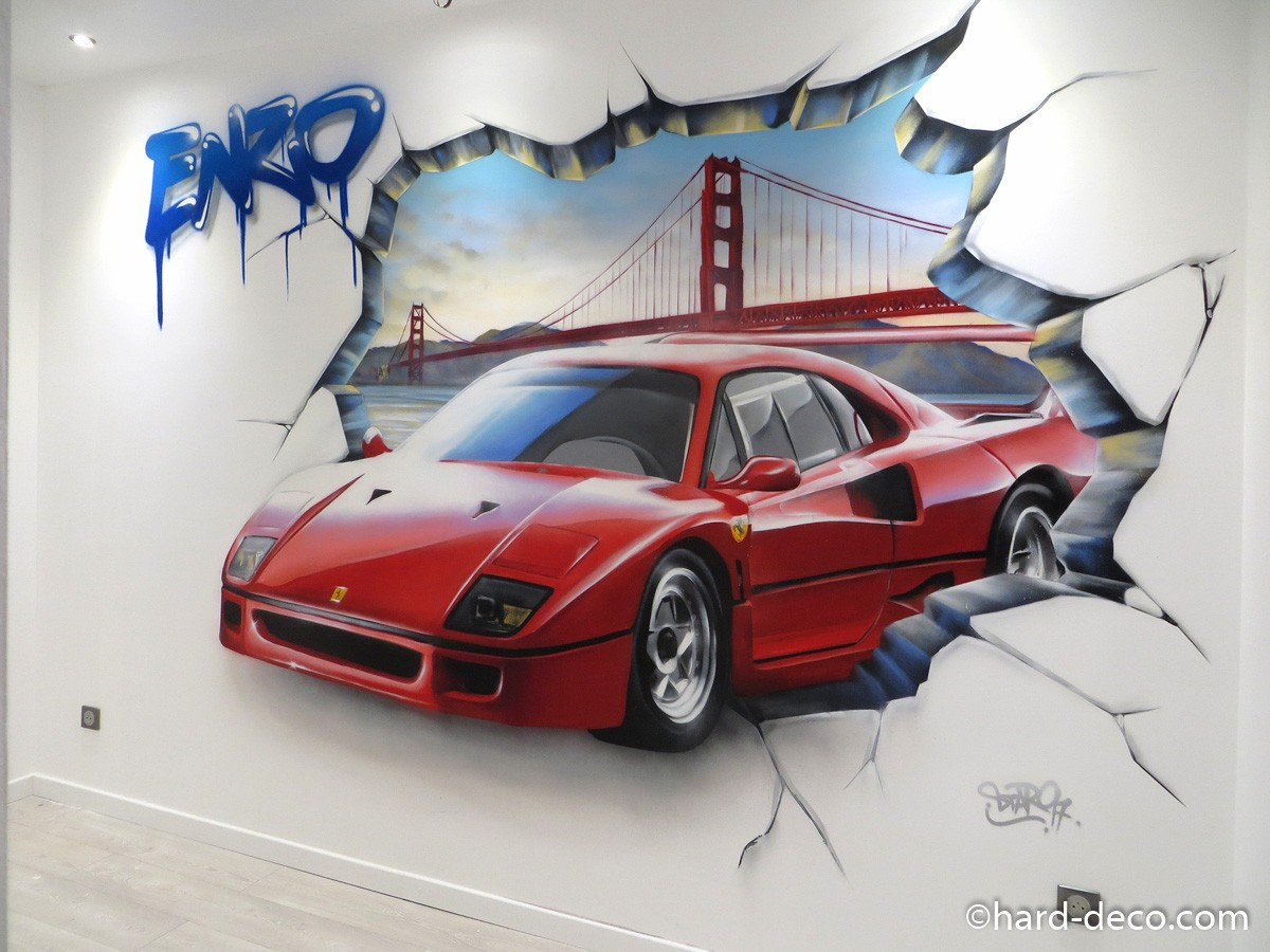 fresque murale graffiti avec ferrari f40 sur fond de san francisco. Black Bedroom Furniture Sets. Home Design Ideas