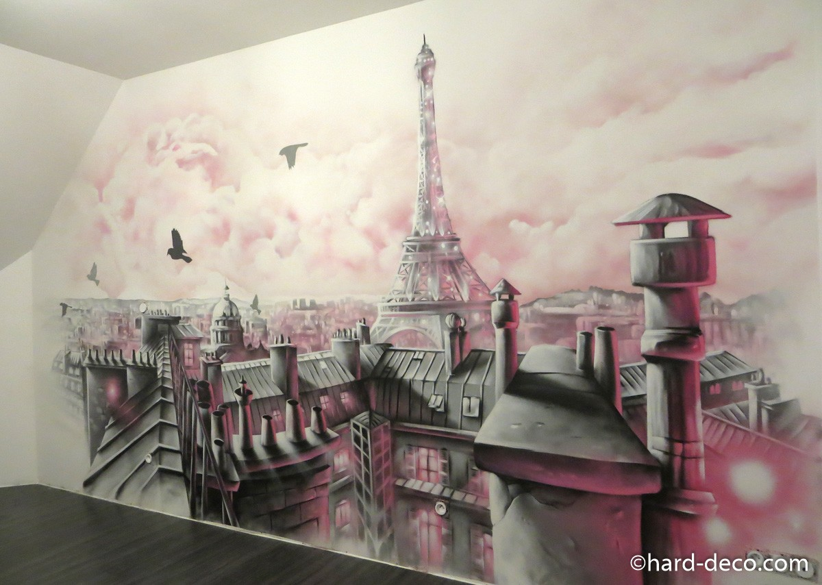 Fresque murale pour chambre de fille avec toits de paris for Decoration maison paris
