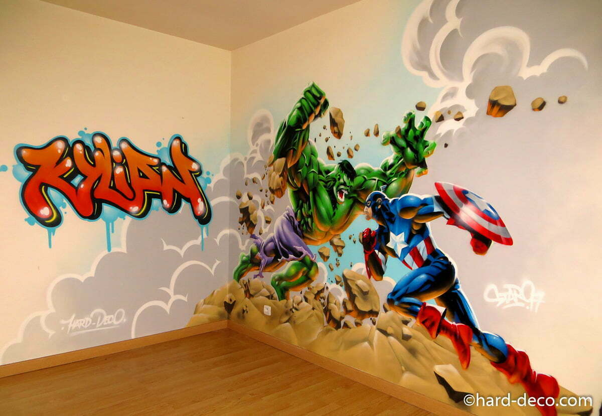 fresque murale pour chambre gar on hulk et captain america. Black Bedroom Furniture Sets. Home Design Ideas