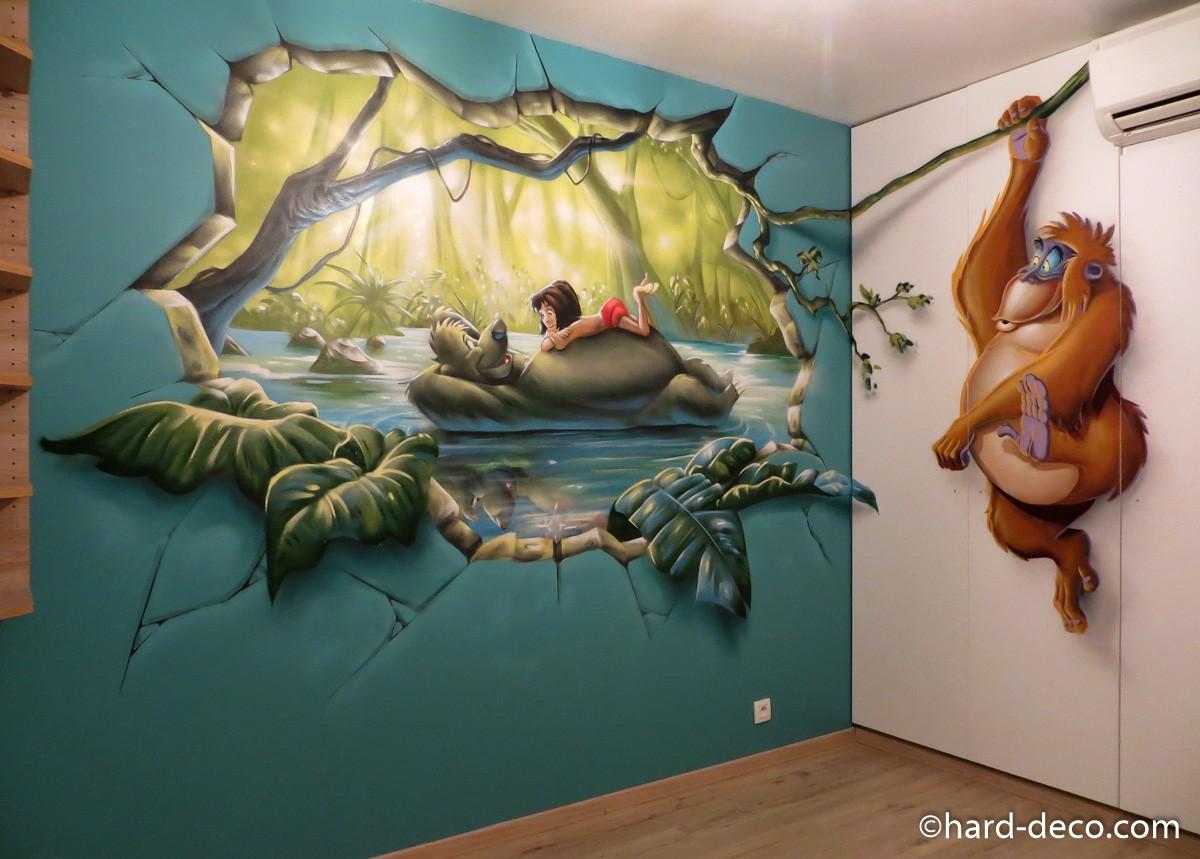 fresque murale graffiti sur le livre de la jungle. Black Bedroom Furniture Sets. Home Design Ideas