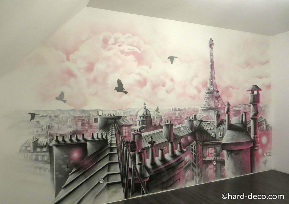 fresque murale pour chambre de fille avec toits de paris. Black Bedroom Furniture Sets. Home Design Ideas