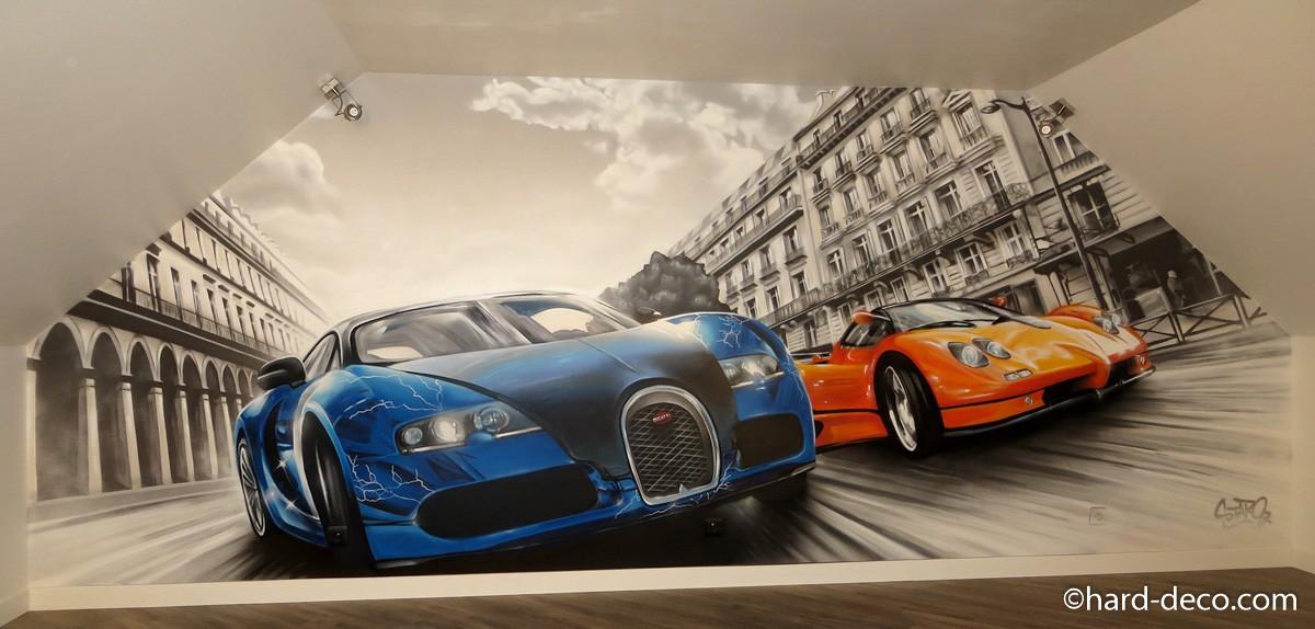fresque murale graffiti course de voitures dans paris. Black Bedroom Furniture Sets. Home Design Ideas