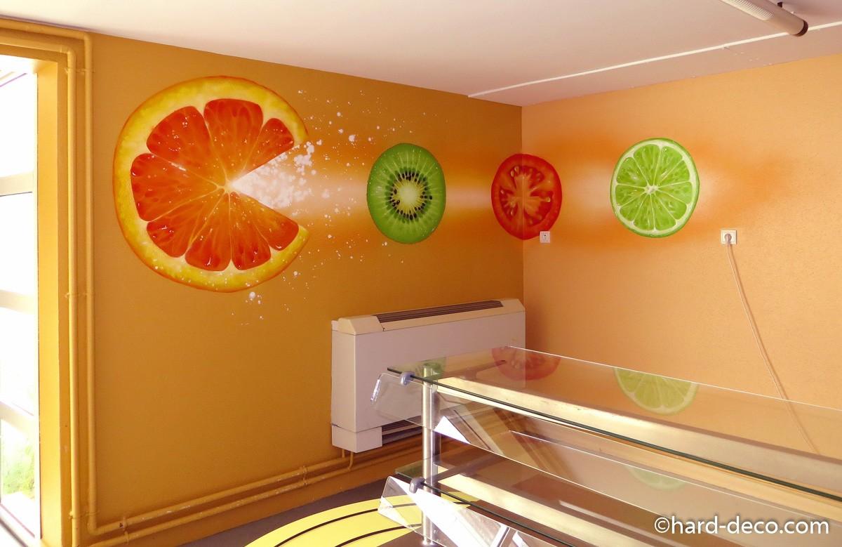 fresque murale fruits et l gumes r fectoire villevaud. Black Bedroom Furniture Sets. Home Design Ideas