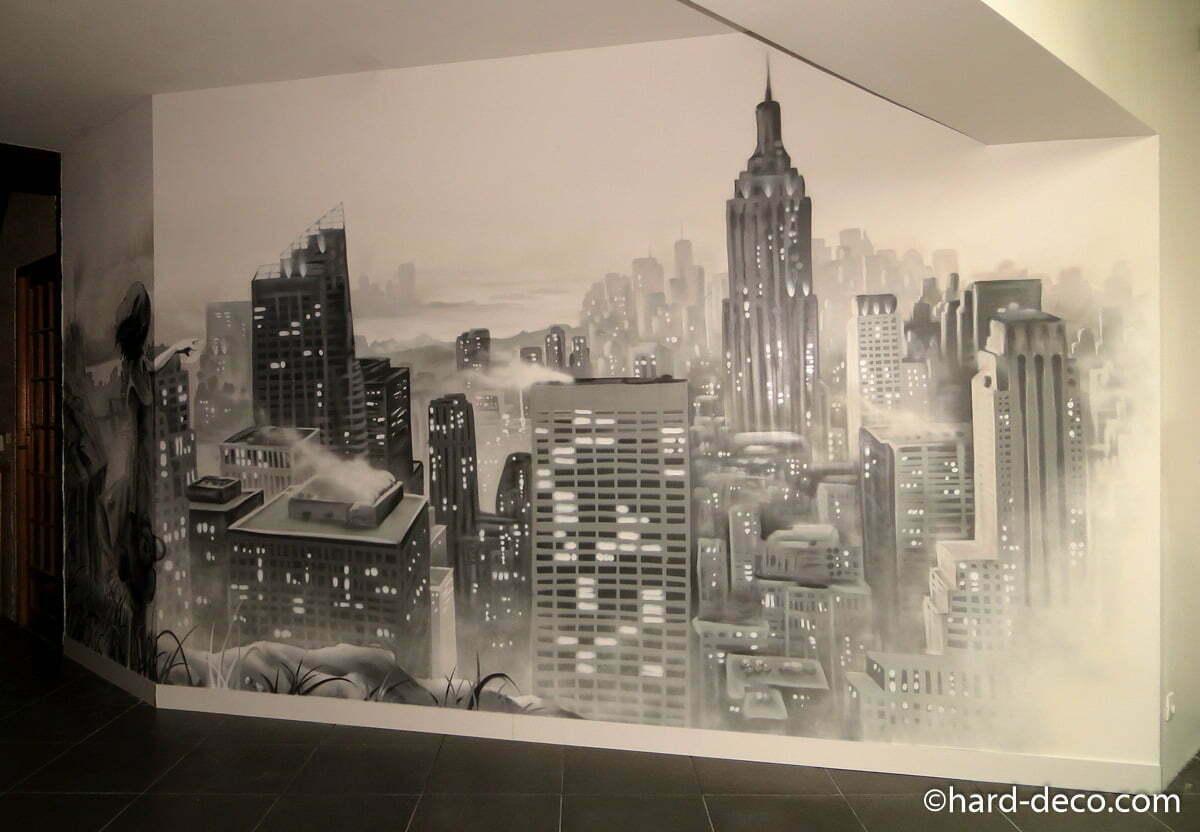 Fresque murale pour salon avec vue sur new york for Deco murale new york