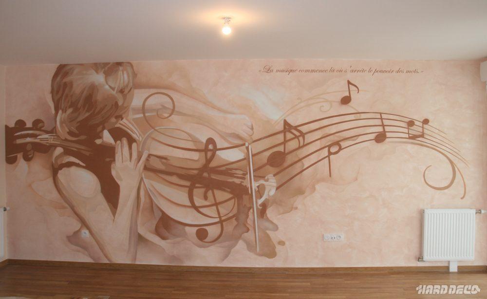 Fresque musicale en d coration murale de salon hard deco for Decoration murale note de musique