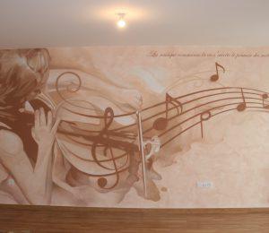 Fresque musicale en décoration murale de salon