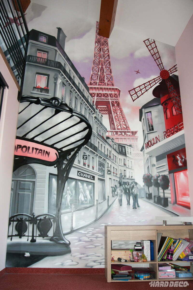 fresque pour chambre de fille sur le th me de paris. Black Bedroom Furniture Sets. Home Design Ideas