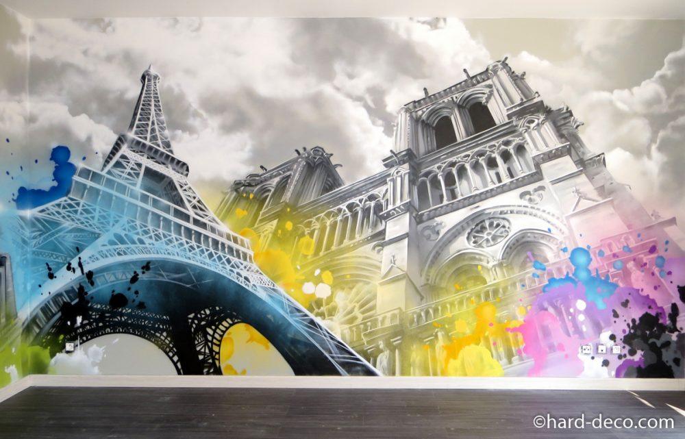 décoration graffiti salon paris toits tour Eiffel notre dame
