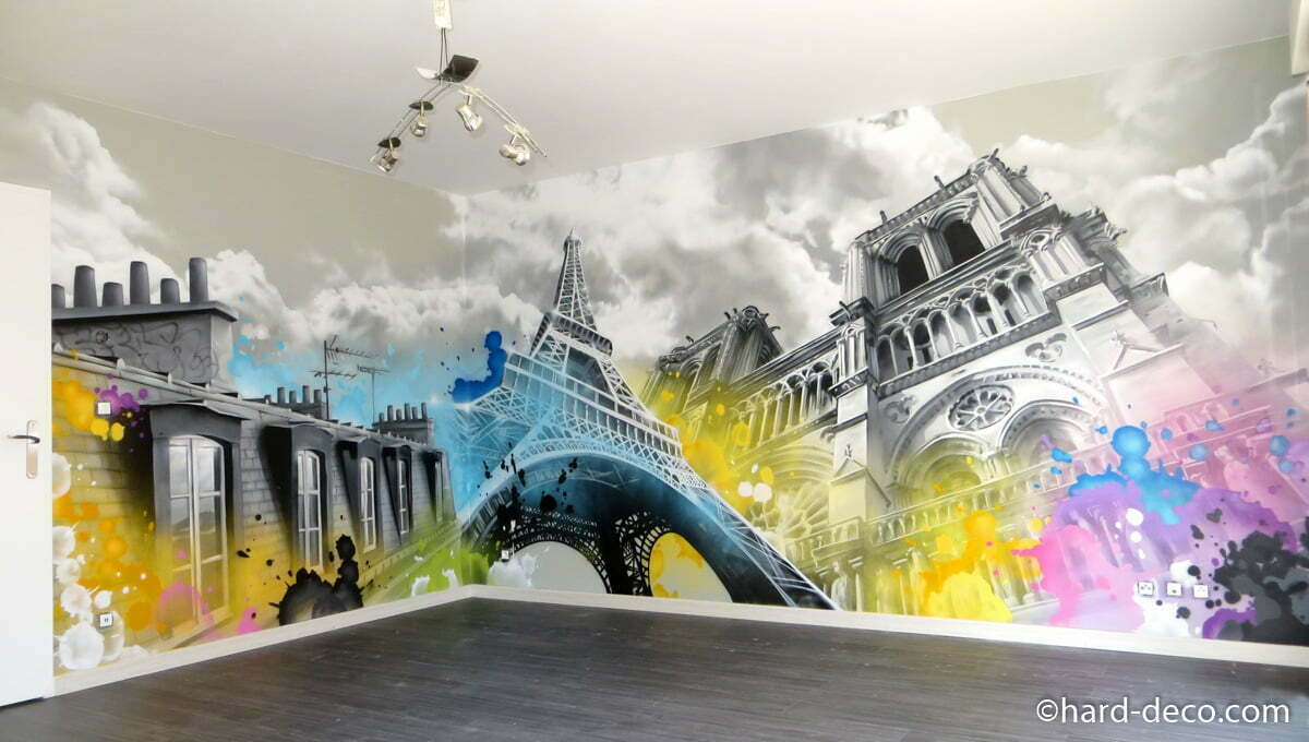 d coration graffiti salon paris toits tour eiffel notre dame. Black Bedroom Furniture Sets. Home Design Ideas