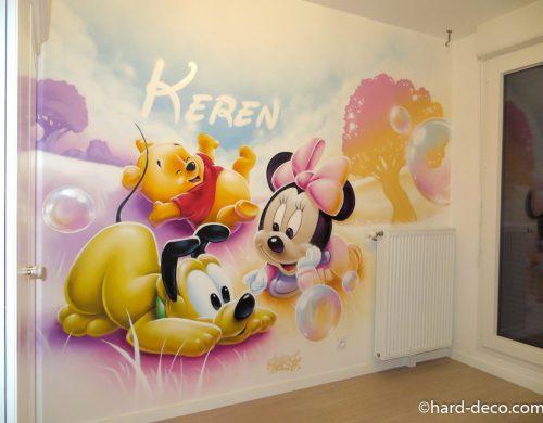 Prénom graffiti et bébé Disney Winnie, Pluto et Minnie