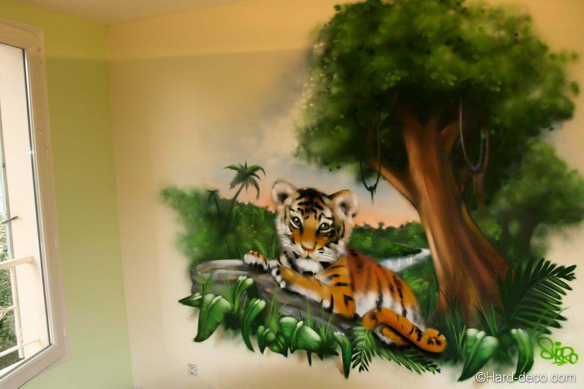 Deco Jungle Chambre Enfant chambre bébé tigre | hard deco