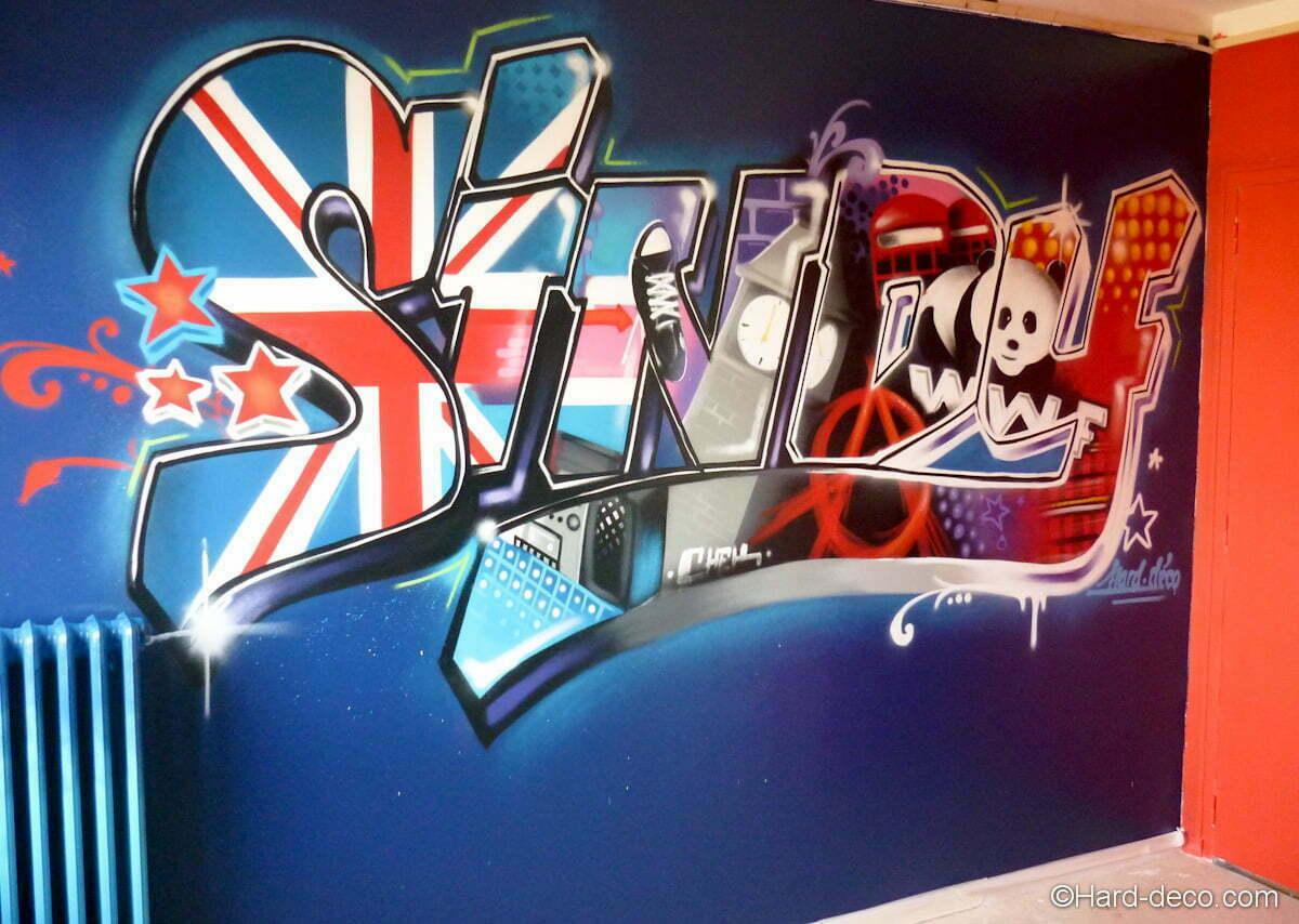 Idee Deco Chambre Londres prénom sindy graffiti | hard deco