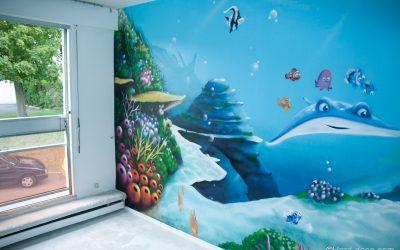 Fresque murale fond marin de Némo