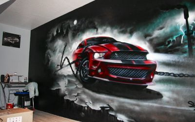 Trompe l'oeil Ford Mustang