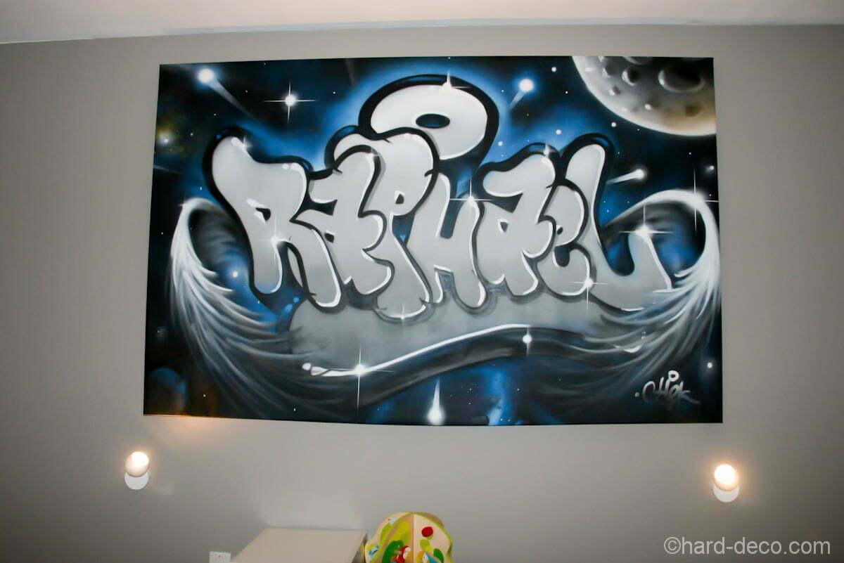 Graffiti sur toile 'Raphael' en déco de chambre