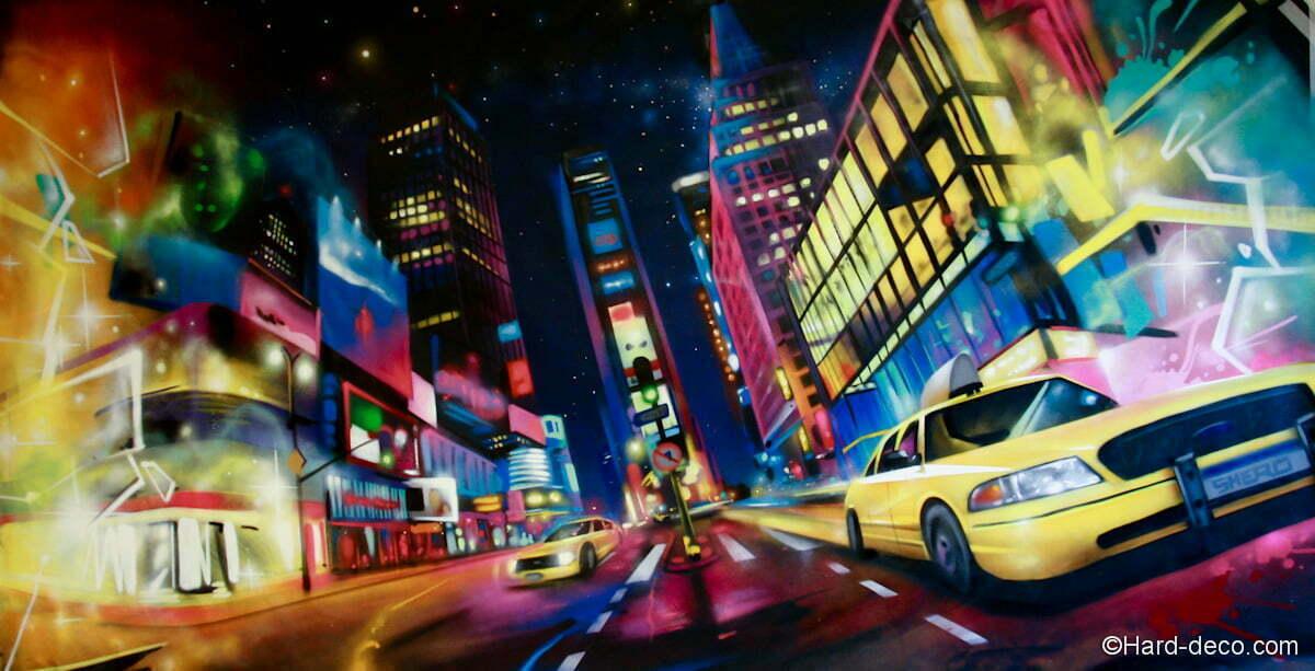 Toile déco représentant une vue sur le célèbre quartier de Broadway, Time Square (4x2m)