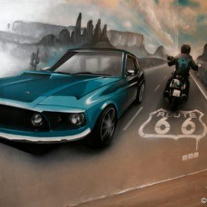 Déco murale avec la Mustang en premier plan sur la route 66