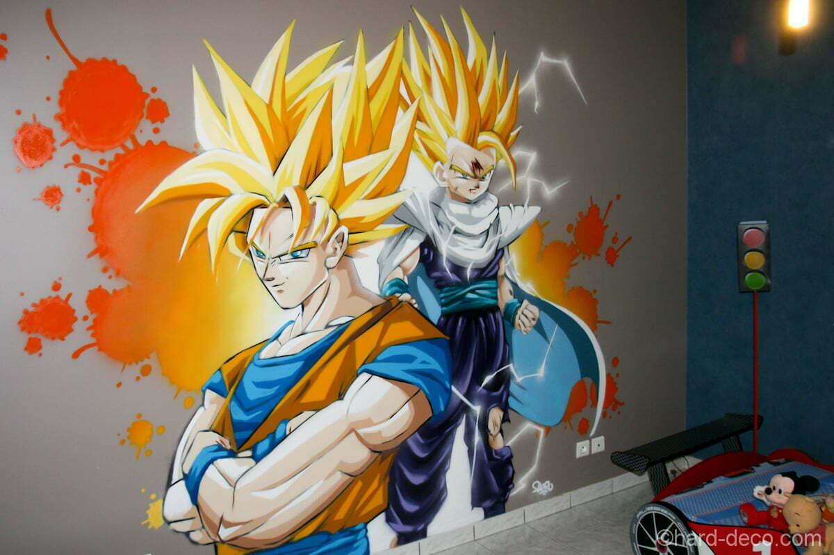 Sangoku & Sangohan en mode super guerrier sur un mur de la chambre